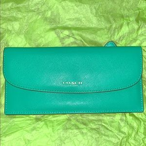 Coach Leather Envelope Wallet Green